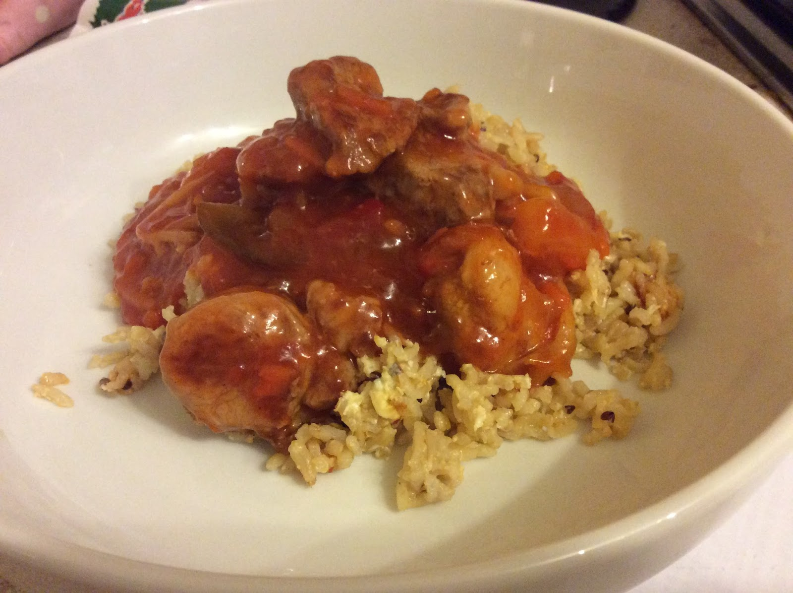 sweet and sour pork with egg-fried brown rice