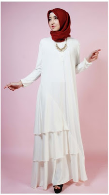Baju Dress Maxi Muslimah Putih Elegan