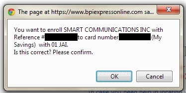 Step 3 of BPIExpressOnline Bills Payment