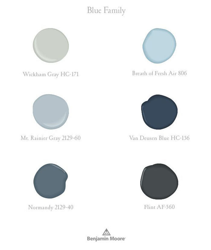 different tones of blue by Benjamin Moore paint