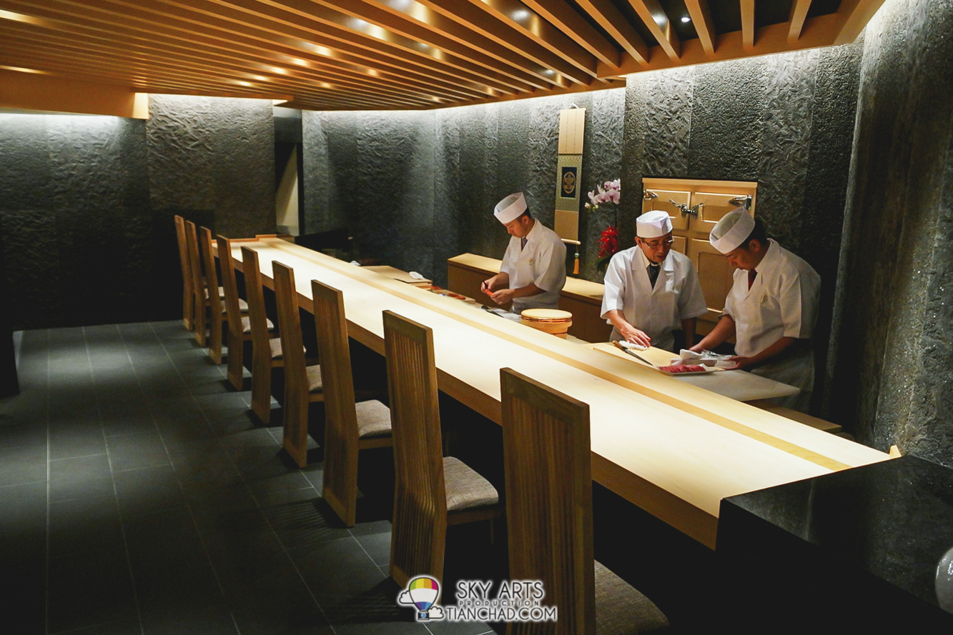 A nine seating Sushi Bar where you can see how your sashimi and sushi being prepared