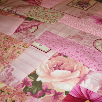 made fabric crazy quilt block pink