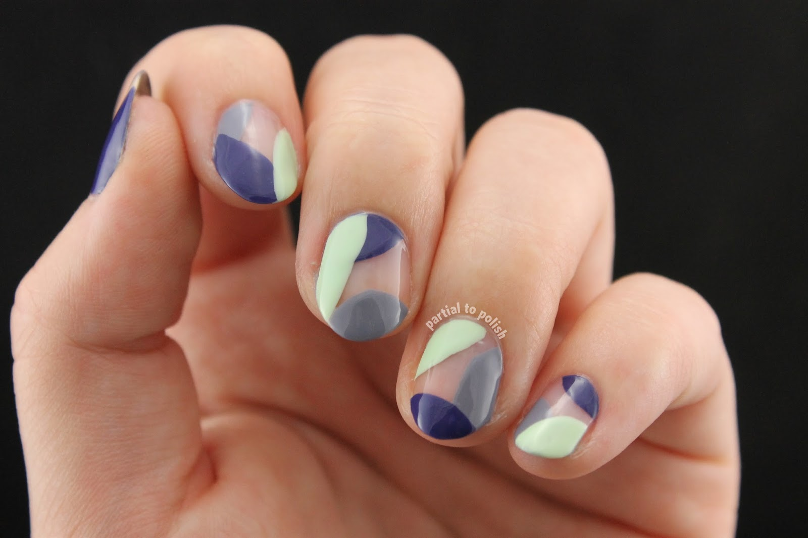 Negative Space Cool Toned Colour Blocking Inspired By Maria Of So Nailicious