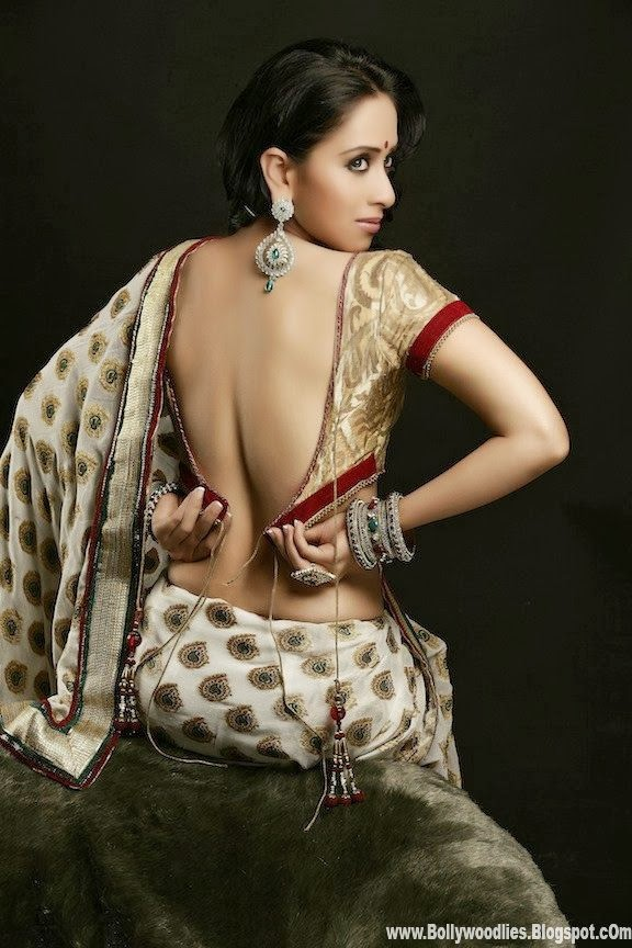 b town monali sehgal hot backless saree photoshoot gallery