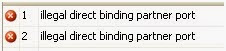 Illegal direct binding partner port
