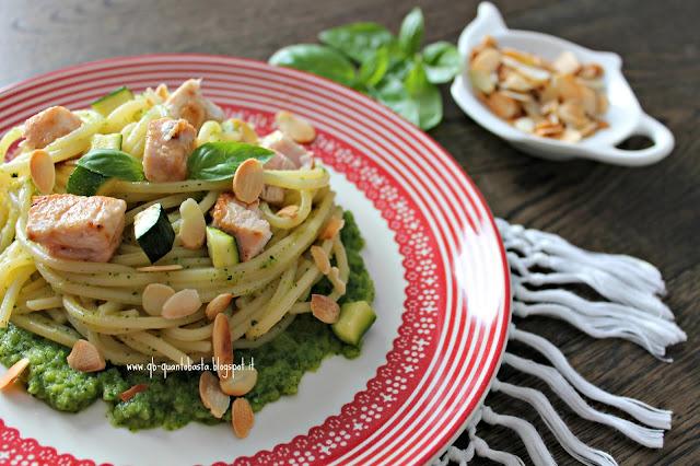 www.qb-quantobasta.blogspot.it: Spaghetti con pesce spada, mandorle croccanti e pesto veloce di zucchine e basilico