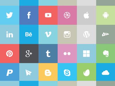 24 Free Flat Social Media Icons