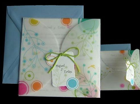 Invitación circulos y colores para boda