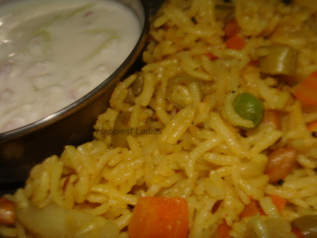 Vegetable Pulav with Raitha+recipe for vegetable pulav