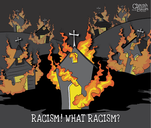 Racism in America - Black Churches Are Burning Editorial Cartoon