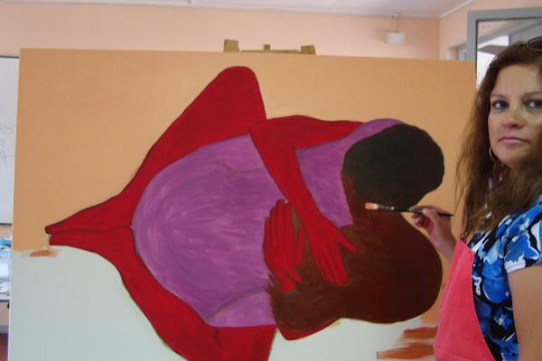"""Pintando para la muestra """"EROTISIMO 2011"""" del Centro Cultural de la Reina"""