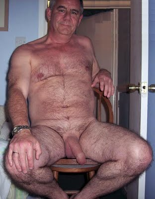 Old naked hairy man