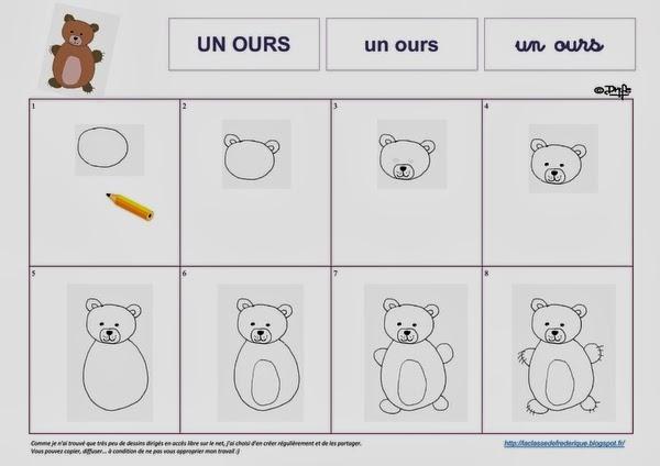 Laclassedefrederique dessins dirig s - Dessiner un ours en maternelle ...
