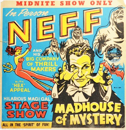 magic, circus, classic posters, free download, graphic design, movies, retro prints, theater, vintage, vintage posters, Midnite Show, Dr. Neff, Madhouse of Mystery - Vintage Magic Poster