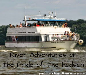 Image of the actual Pride of Hudson river boat with text River Adventures on The Pride of the Hudson