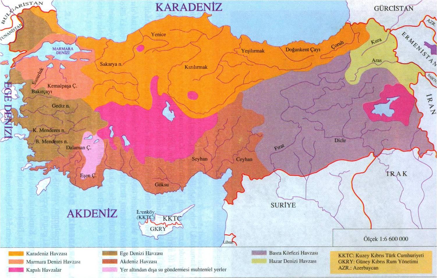 Türkiye su havzaları haritası