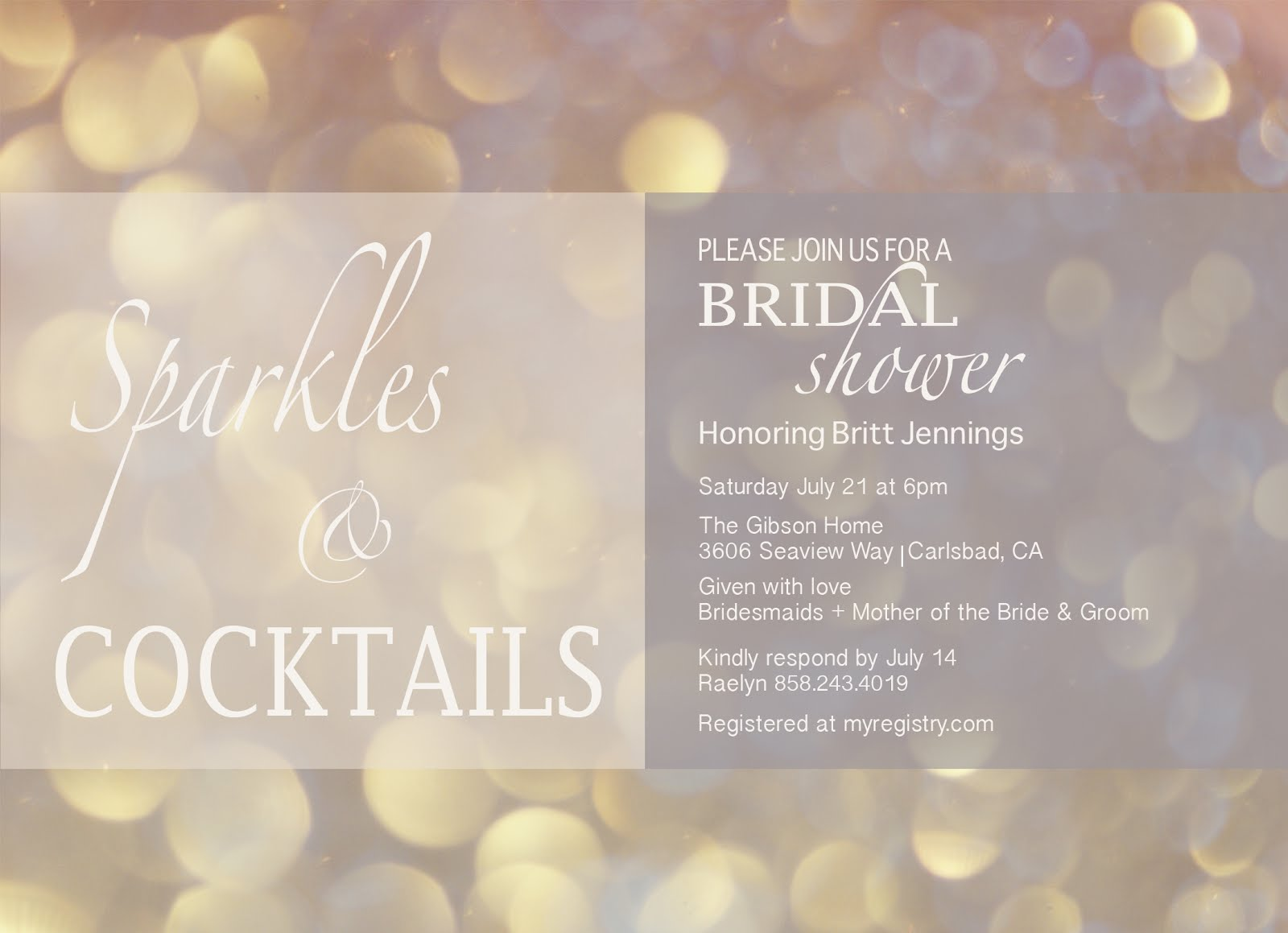 Just Strolling Sparkles Cocktails bridal shower invite
