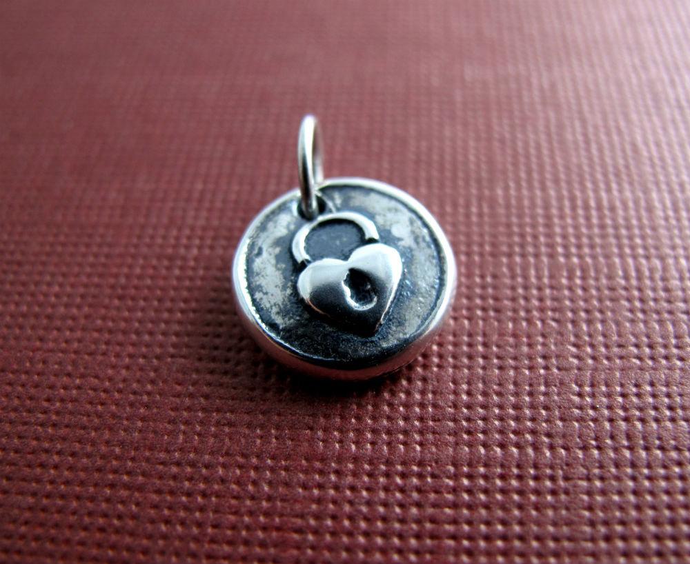 Heart Lock Charm by Beth Hemmila of Hint Jewelry