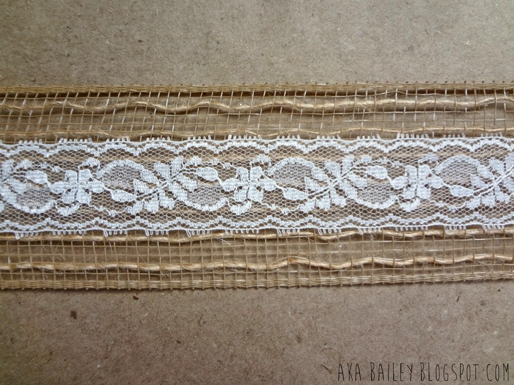 Brown paper gift wrap with burlap and lace
