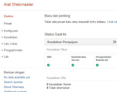 dashboard google webmaster tool