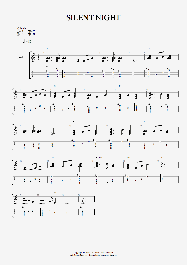 Silent night guitar chord