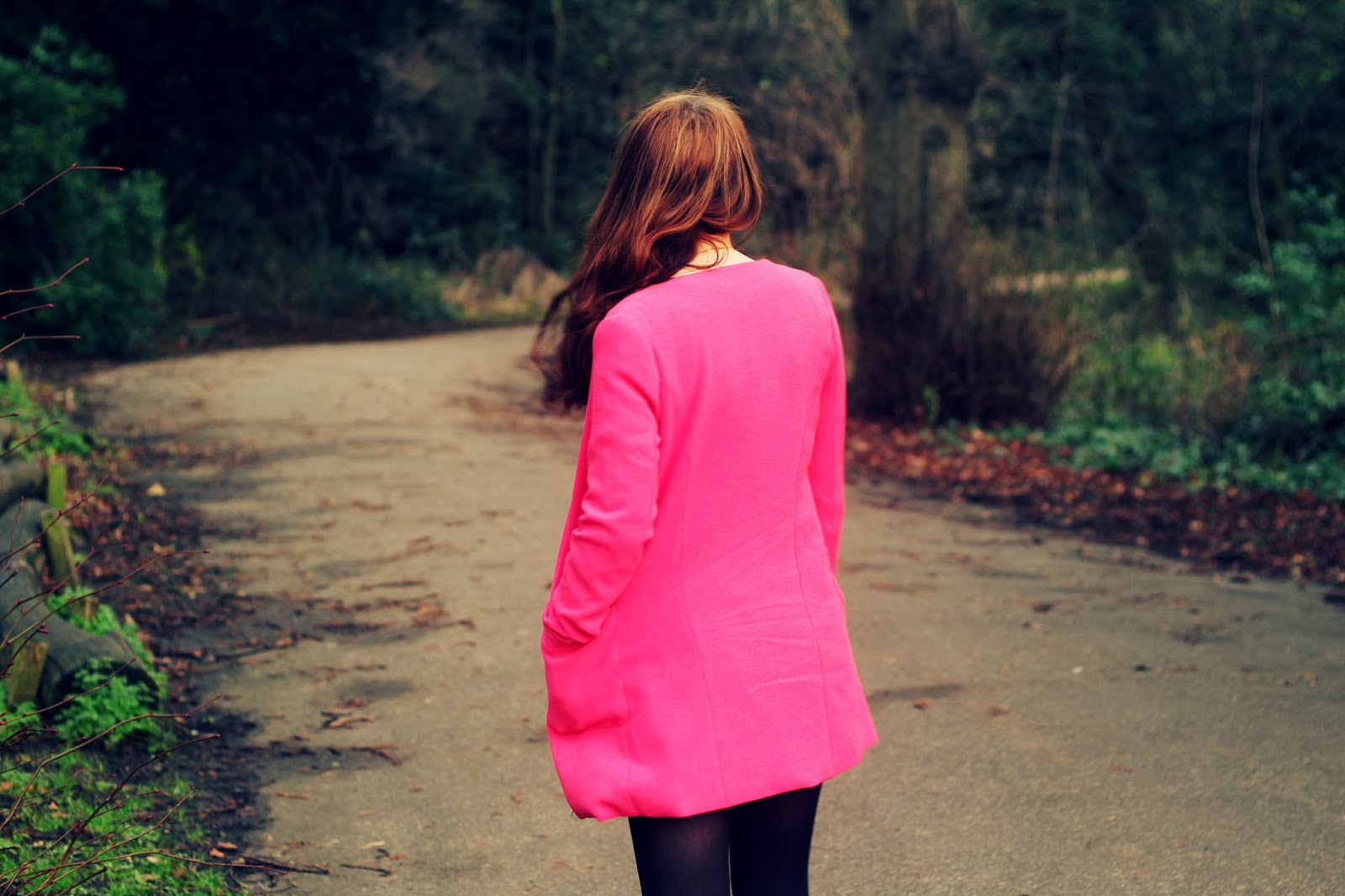 how to wear a pink bright jacket coat