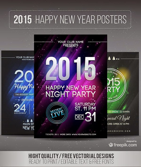 2015 Happy New Year Flyer Posters