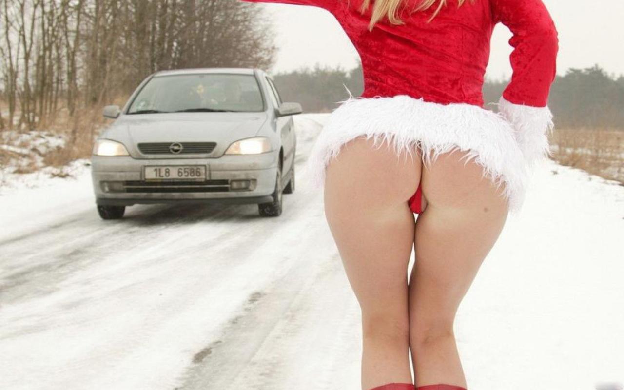 Naked Sexy Santa Ass Babe