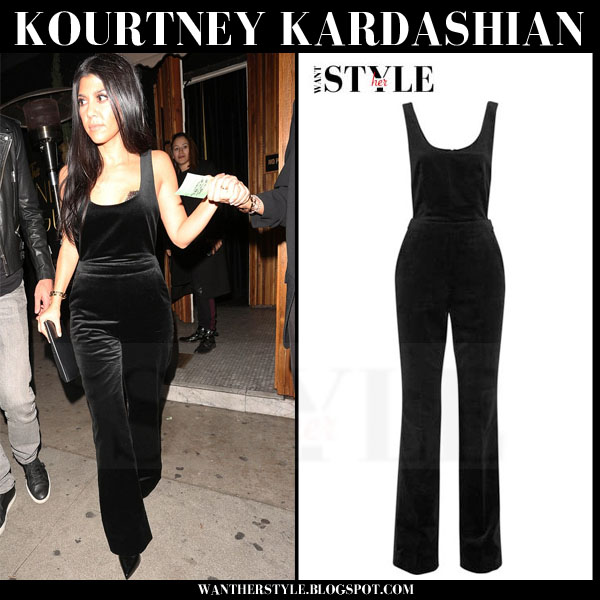 Kourtney Kardashian in black velvet Topshop Arnold jumpsuit what she wore night out