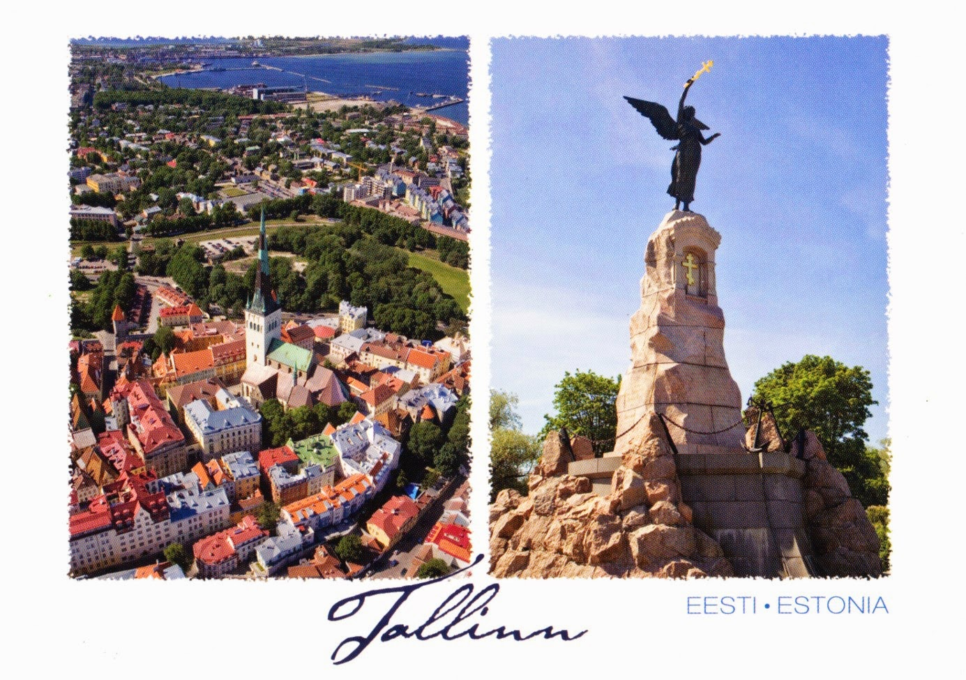 tallinn, postcard, mermaid, old town, st. olaf's church, rusalka