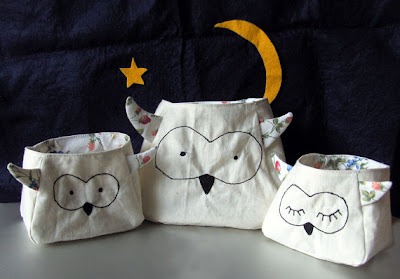 owl fabric storage bags