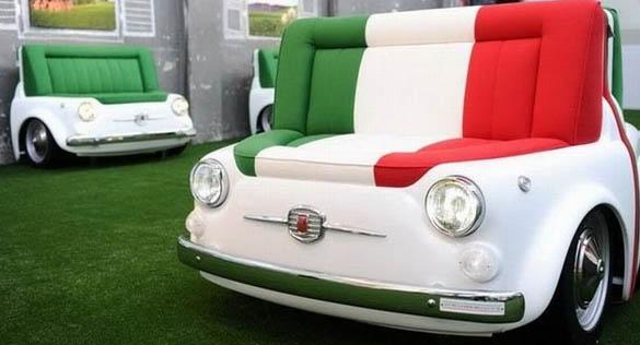 Arredamenti moderni una sofa divano particolare a forma di una fiat 500 - Fiat 500 divano ...