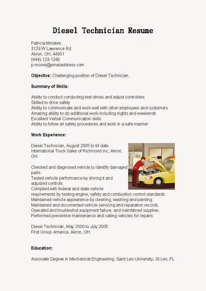 resume samples  diesel technician resume sample