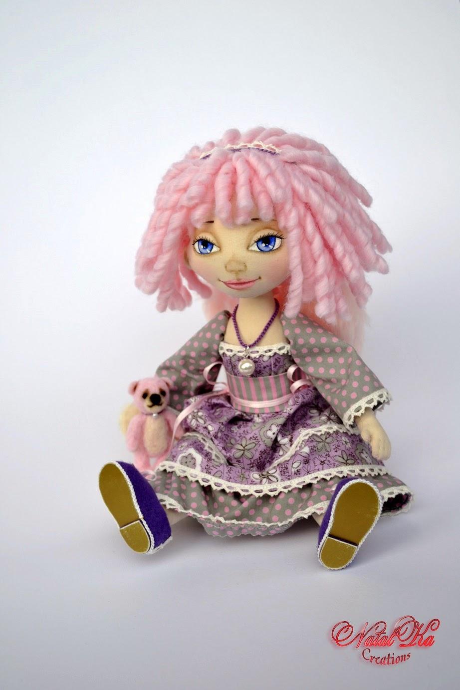 Авторская текстильная тряпичная кукла ангел от NatalKa Creations. Cloth art doll handmade by NatalKa Creations