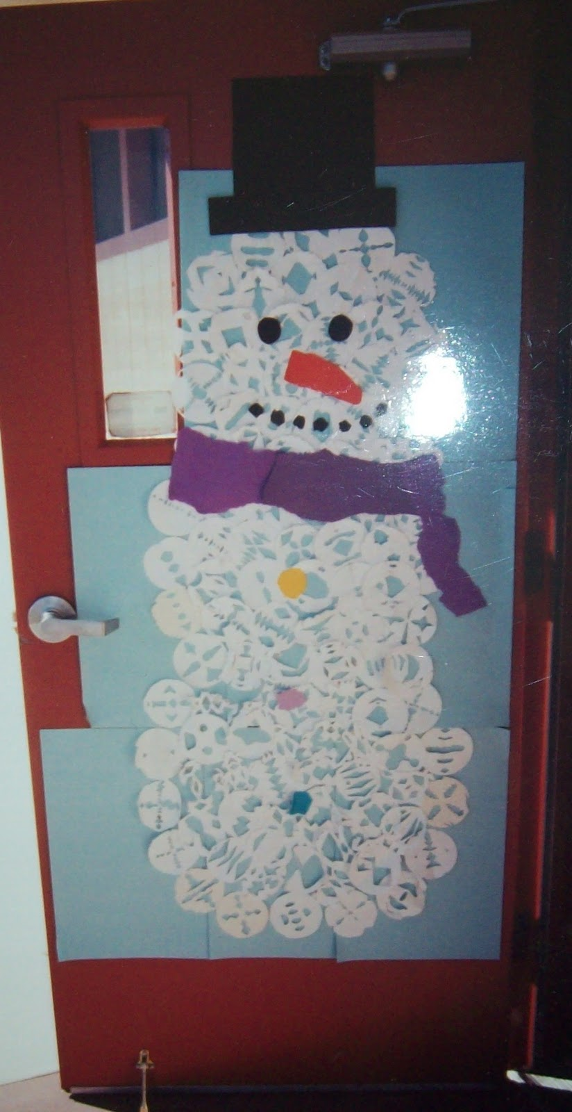 Snowflake snowman door yearn to learn Class door winter decorations