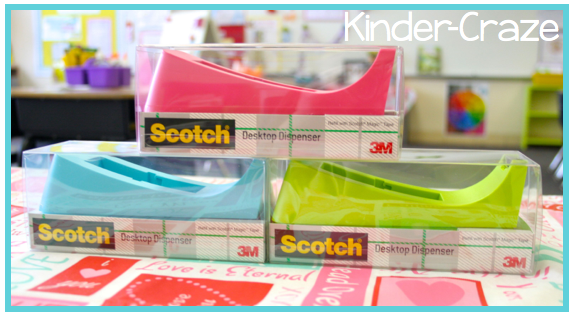 colorful tape dispensers for the classroom