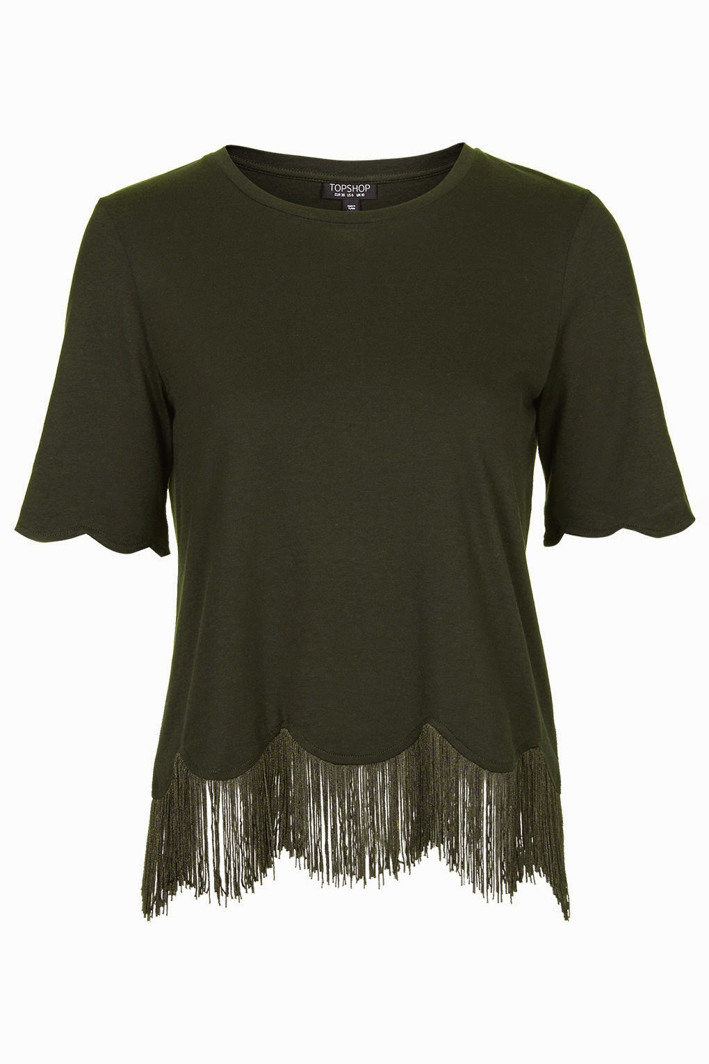 khaki scallop top