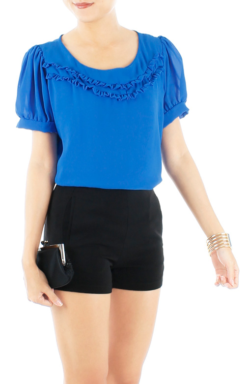 Cobalt Blue Little Ruffle Tulip Blouse with Sleeves