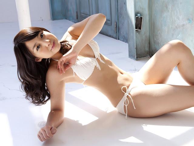 Yui Koike in white bikini