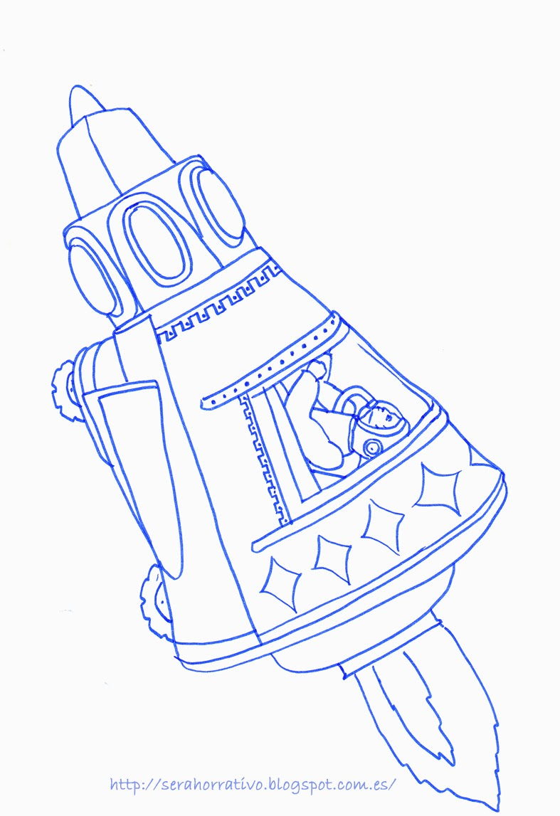 lámina colorear nave astronauta, dibujo colorear, gratis