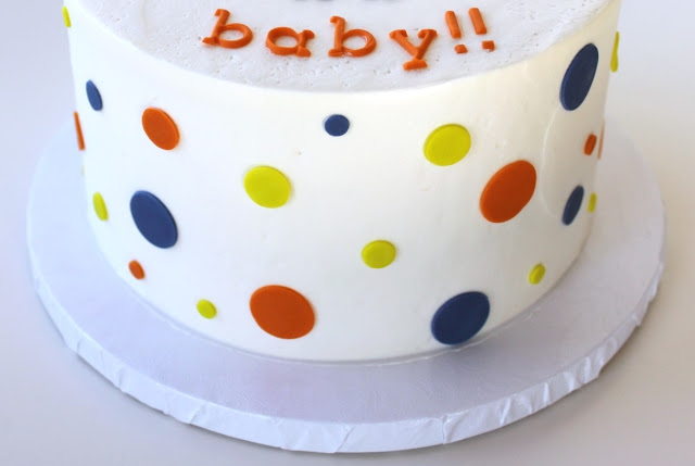Blue, Orange, and Green Baby Shower Cake
