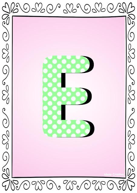 Alfabeto Poá Colorido com Borda Letra E