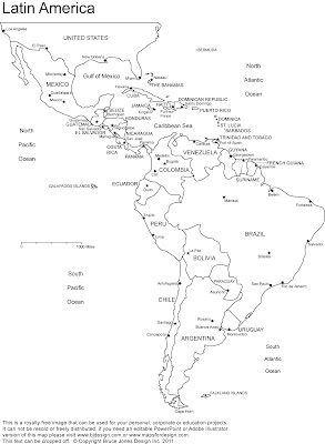 Latin America Print Map Region City