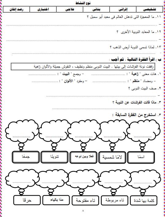 شيتات المجموعة المدرسية لمادة اللغة العربية للصف الثالث الابتدائى على هيئة صور للمشاهدة والتحميل The%2Bfirst%2Bunit%2B3%2Bprime_008