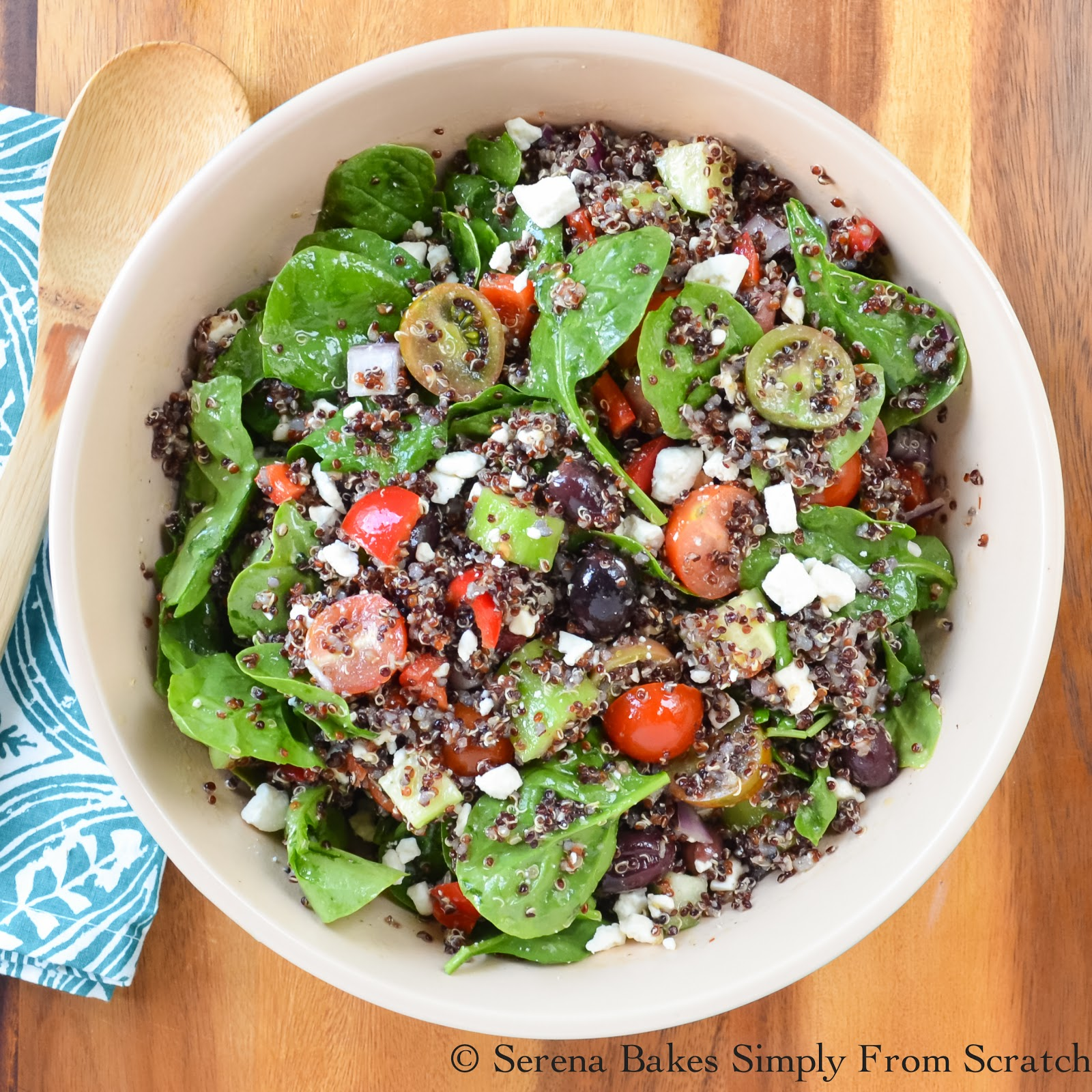 Greek Quinoa Salad. Healthy and easy to make! Perfect as a side or main dish! www.serenabakessimplyfromscratch.com