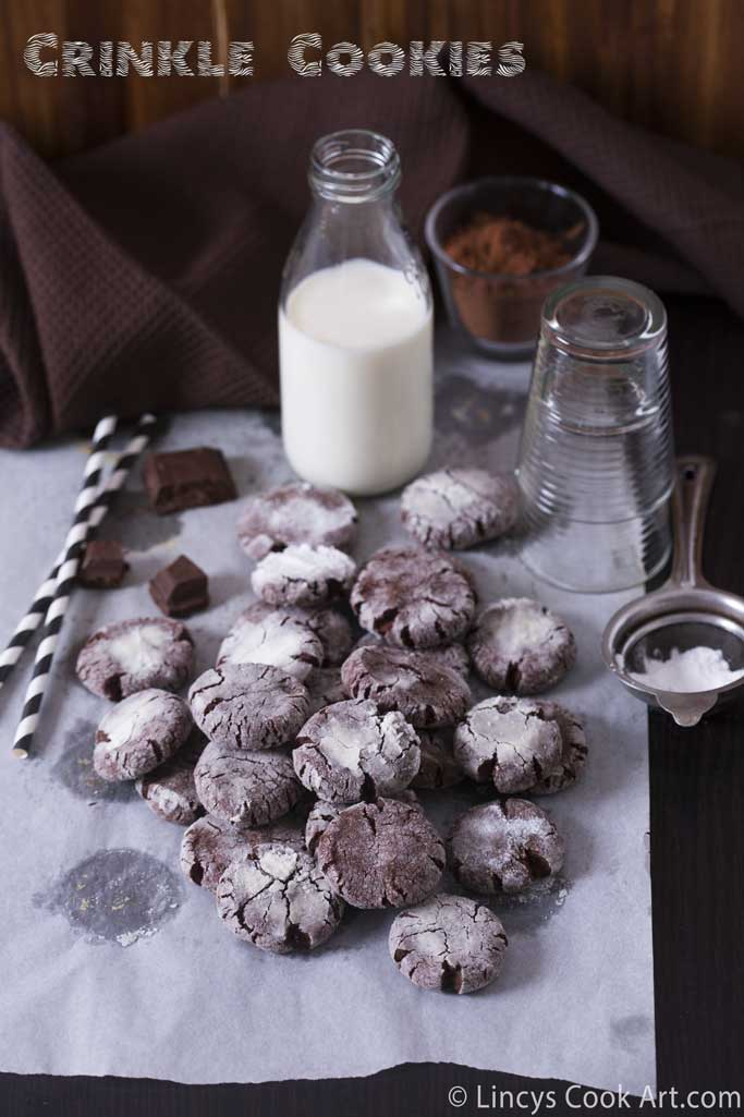 Eggless Crinkle Cookie recipe