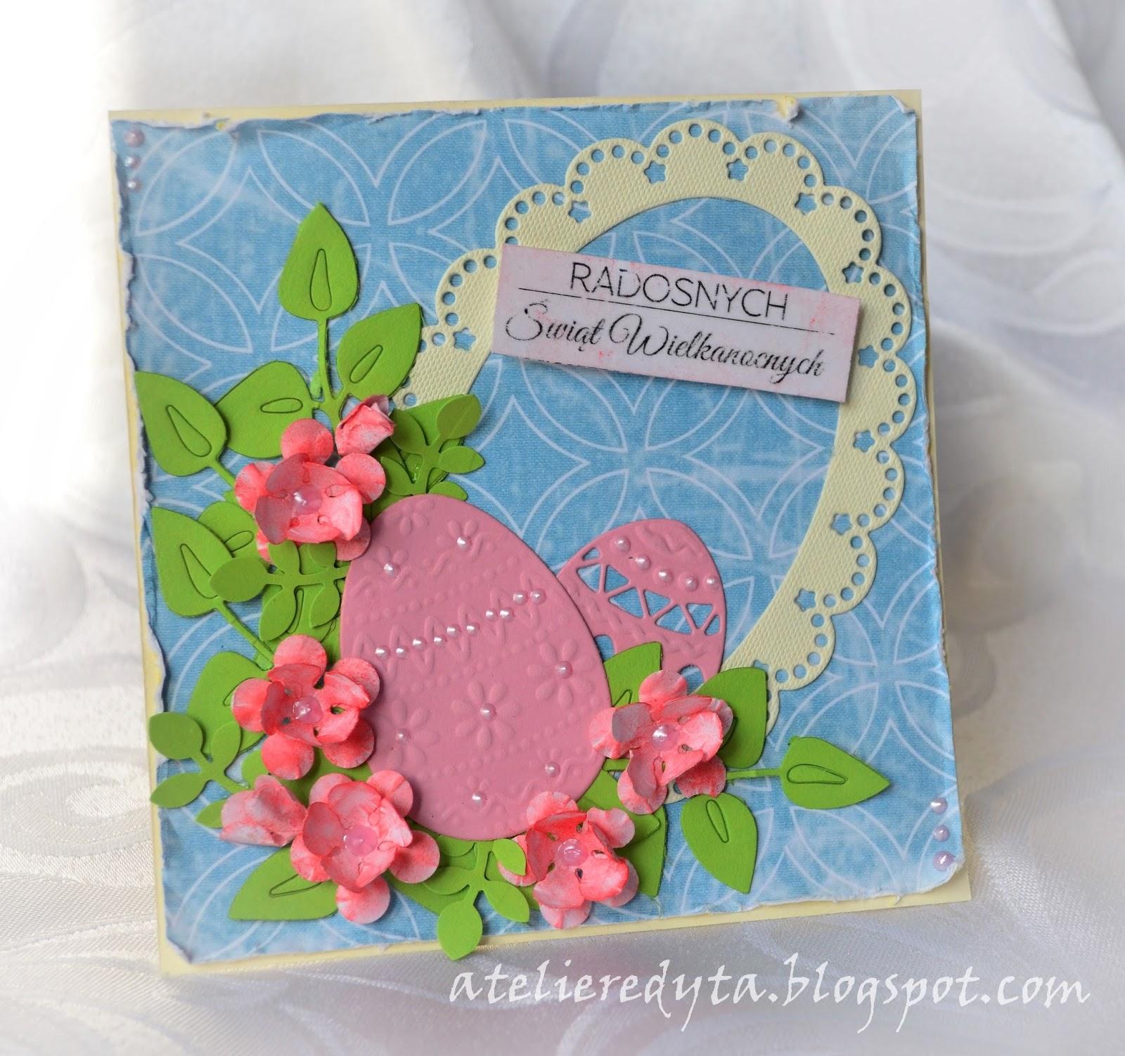 Ręcznie robiona kartka wielkanocna z pisankami