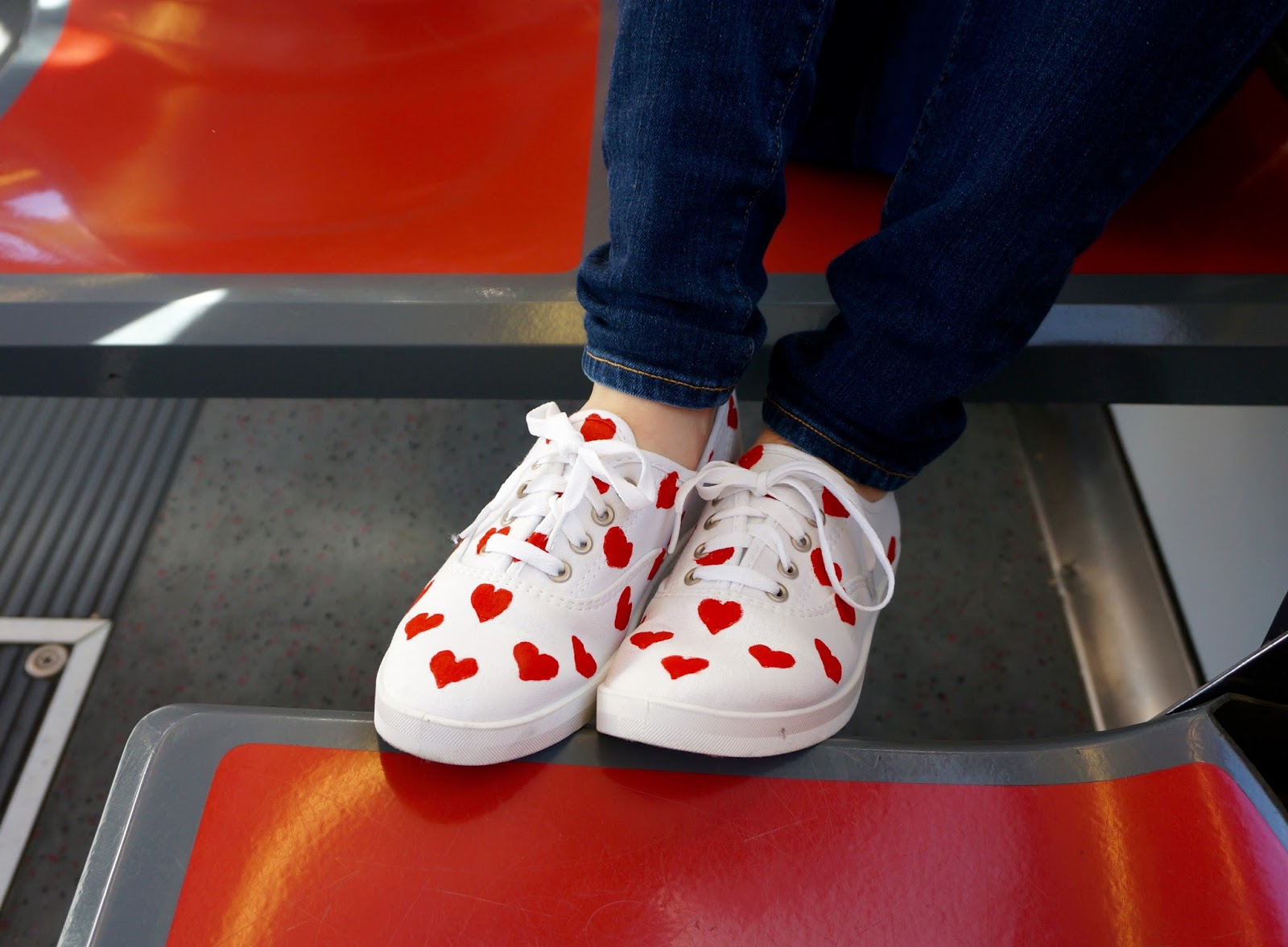 DIY Little Red Heart Sneakers - greysuede.com