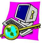 An image of a computer being unlocked by a key which represents the world