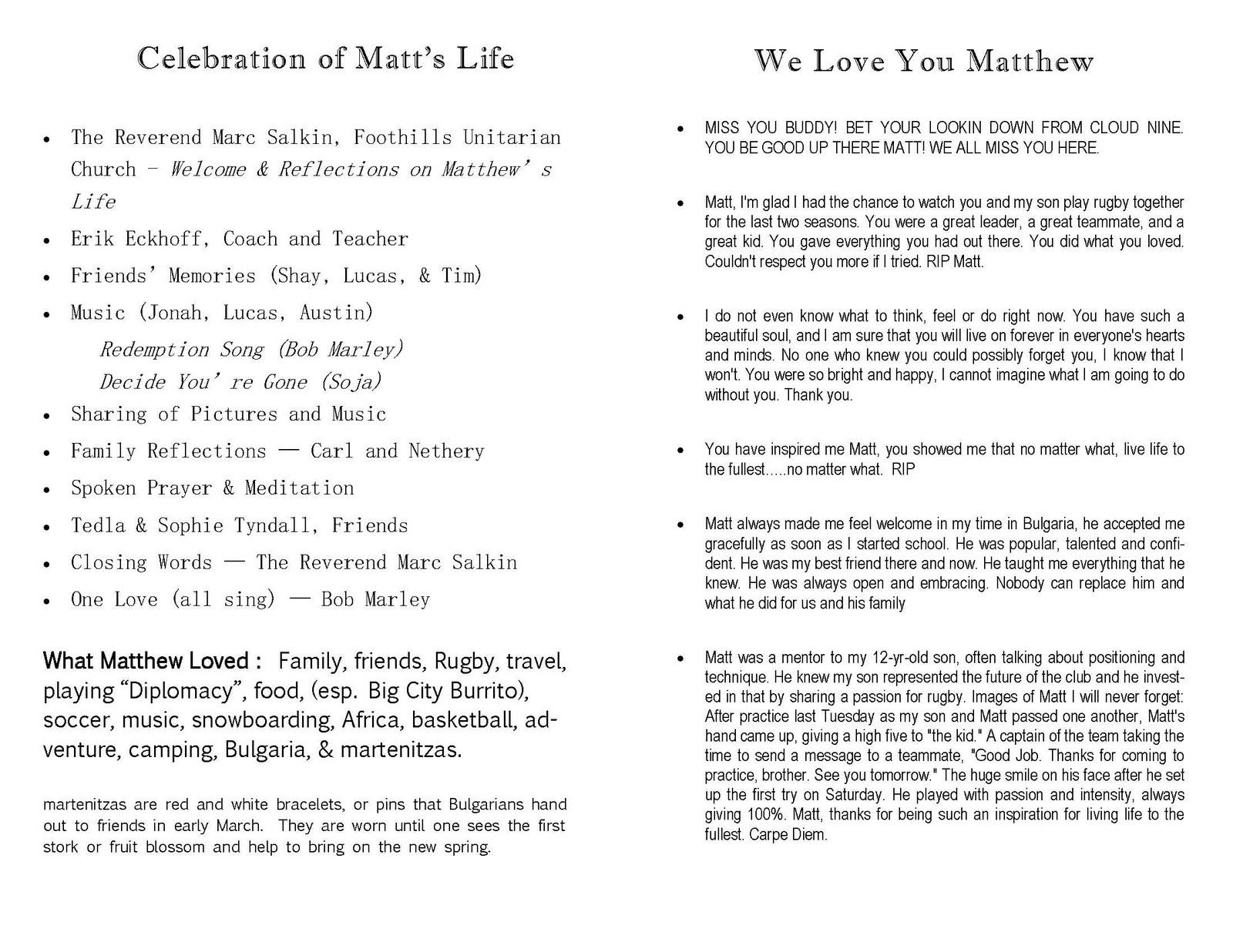 Matthew Hammerdorfer: Memorial Service Program